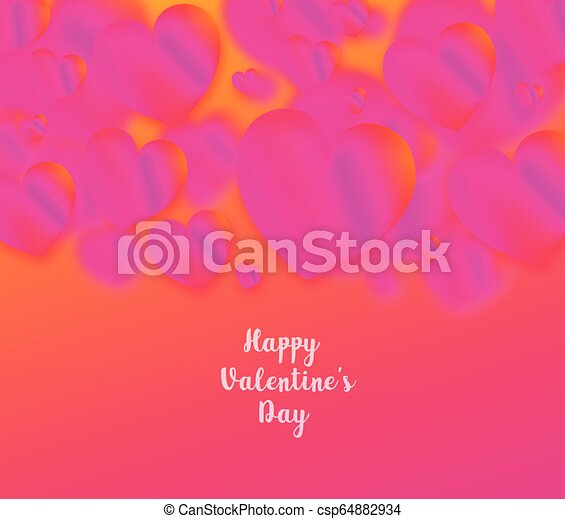 Pink heart colorful neon figures, Valentine's day greeting Banner - csp64882934