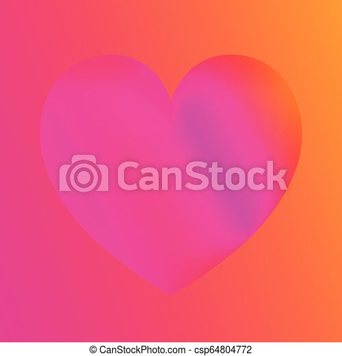 Pink heart colorful neon figures, Valentine's day greeting Banner - csp64804772