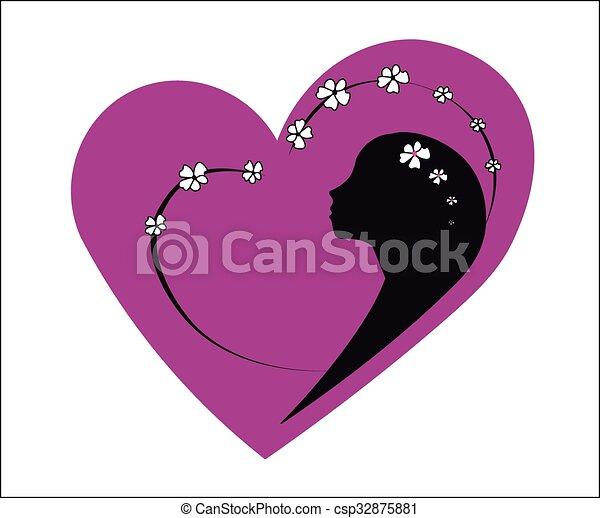 Pink heart girl spring  - csp32875881