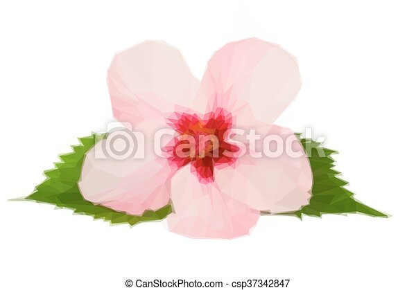 Low Poly Illustration Of Pink Hibiscus Flower
