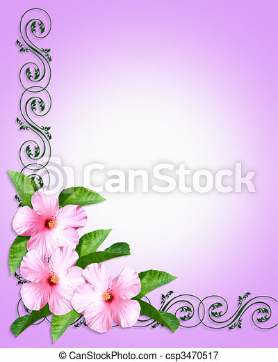 Pink hibiscus invitation border image and illustration composition pink hibiscus invitation border csp3470517 filmwisefo