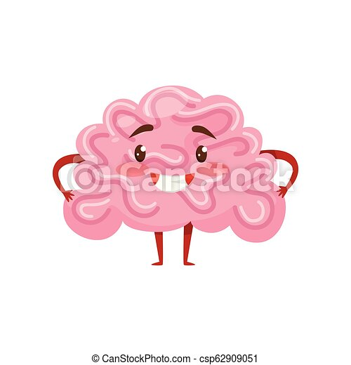 Pink humanized brain with smiling face, little arms and legs. Human organ. Funny cartoon character. Flat vector icon - csp62909051