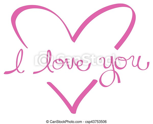 Pink I Love You Heart - csp43753506