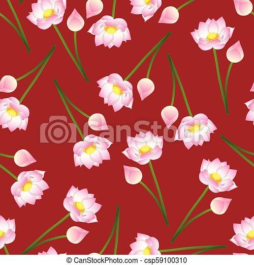 Pink Indian Lotus On Red Background Nelumbo Nuciferasacred Lotus