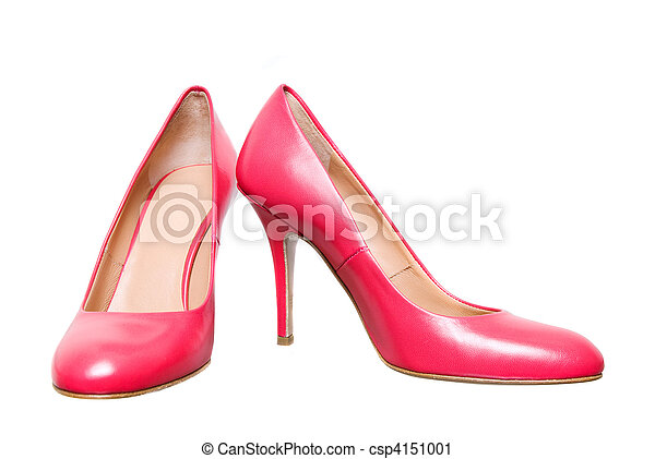 pink leather female shoes isolated on white - csp4151001