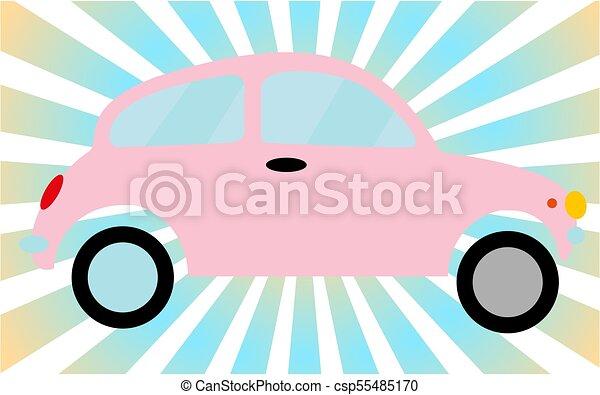 Pink little old retro hipster vintage antique two-door car, hatchback against the blue rays. Vector illustration - csp55485170