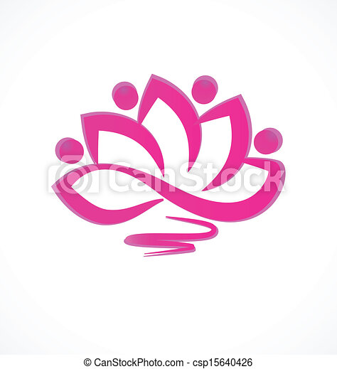 Pink lotus flower icon vector - csp15640426