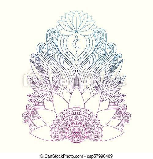 Pink Lotus Flower Isolated Spiritual Symbol Ornamental Pink Blue