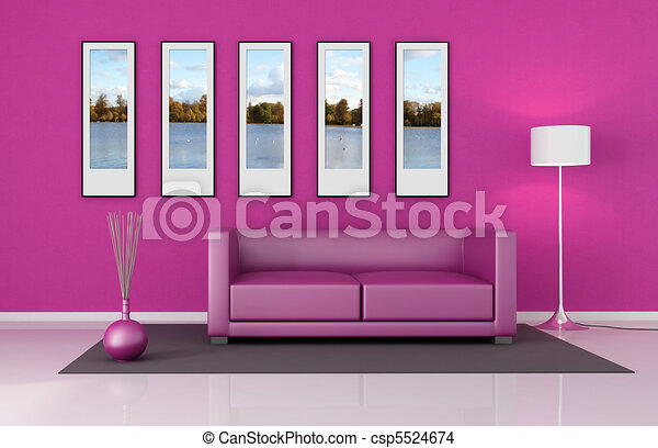 Pink lounge. Pink living room with leather couch and picture frame ...