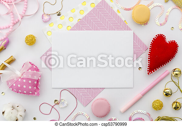pink love letter on valentines day valentine template mockup flat
