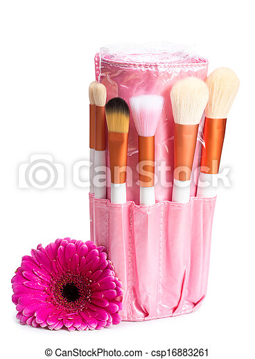 Pink makeup brush set with flower - csp16883261
