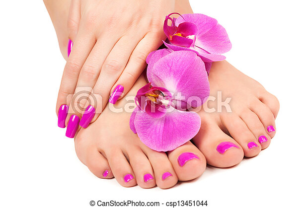 pink manicure and pedicure with a orchid flower. isolated - csp13451044