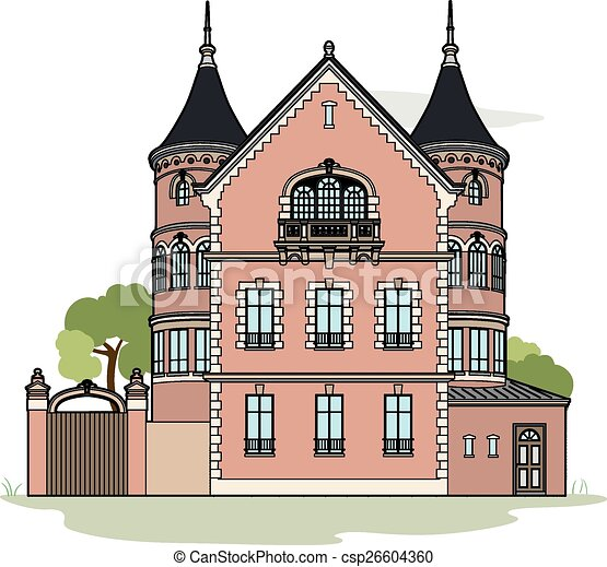 how to draw a cartoon mansion