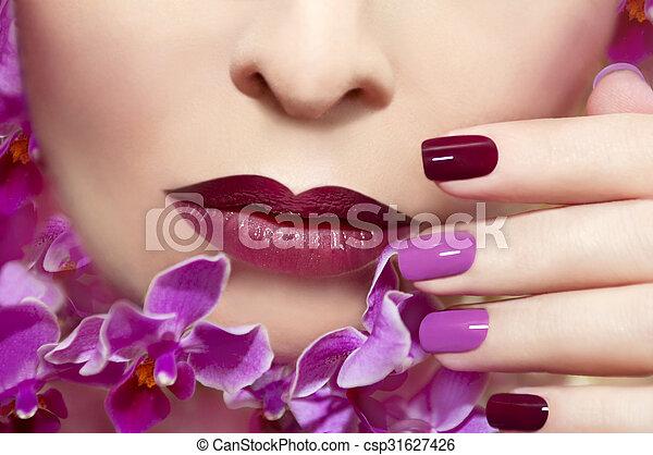 Pink maroon manicure. - csp31627426