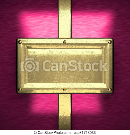 pink metal background with yellow element - csp31713088