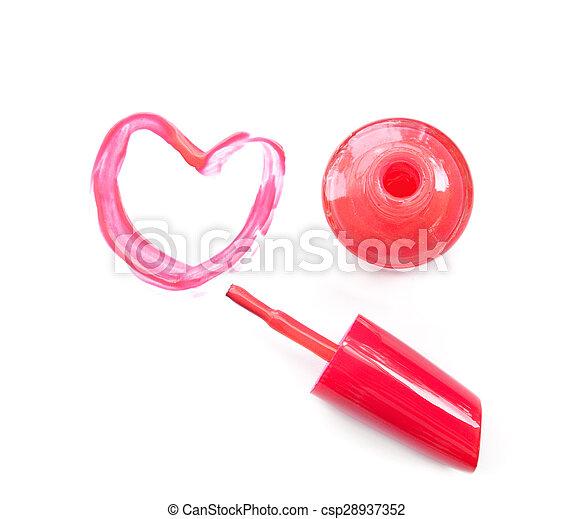 Pink Nail Polish And Brush Draw Heart Shape On White Background