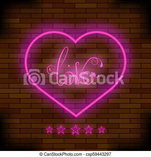 Pink Neon Love Sign - csp59443297