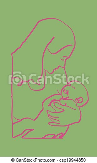 Pink on Green Mother Infant Sketch - csp19944850