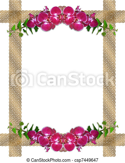 Pink orchids ivy border - csp7449647