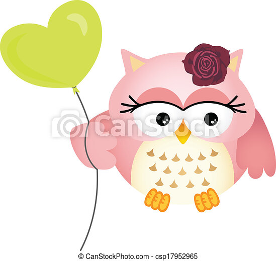 Pink Owl with Balloon - csp17952965