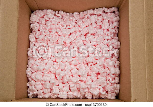 pink packing foam in paper boxes