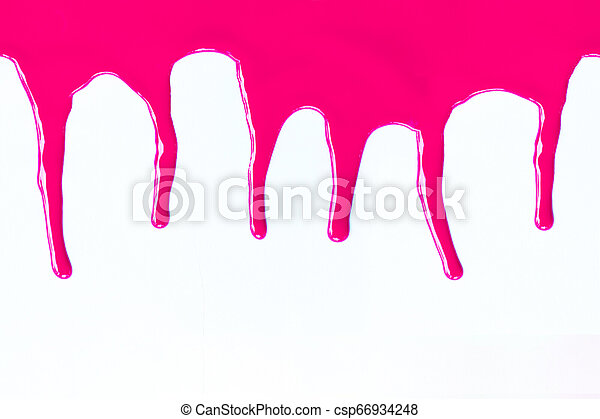 Pink paint dripping on a white. - csp66934248