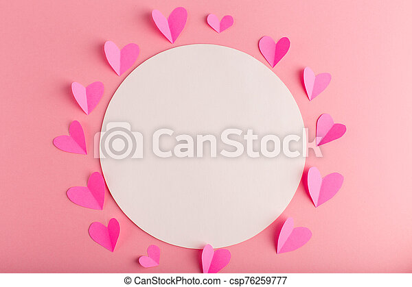 pink pastel background with hearts - csp76259777