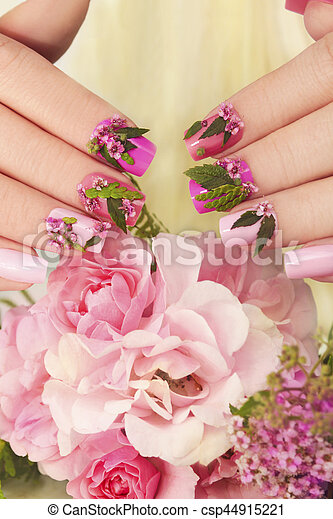Pink Pastel Nails Design Pink Pastel Nails Design With Flowersil