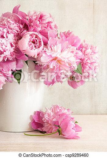 Pink peonies in vase  - csp9289460