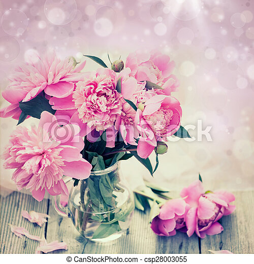Pink peonies on wooden background - csp28003055