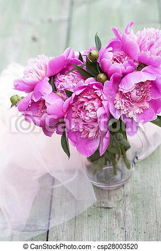 Pink peonies on wooden background - csp28003520
