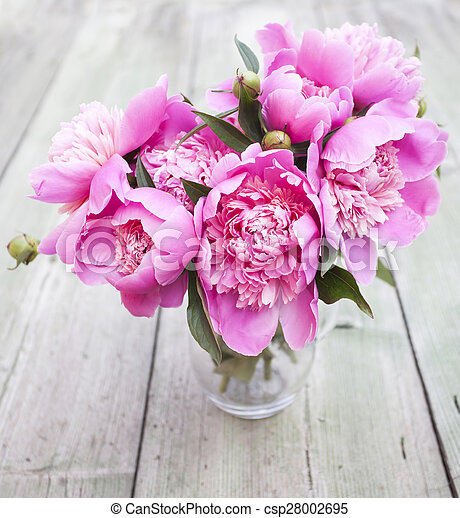 Pink peonies on wooden background - csp28002695
