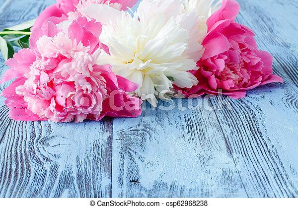 Pink peonies on wooden background - csp62968238