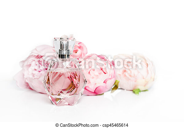 Pink perfume bottle with flowers on light background perfumery pink perfume bottle with flowers on light background perfumery cosmetics fragrance collection mightylinksfo