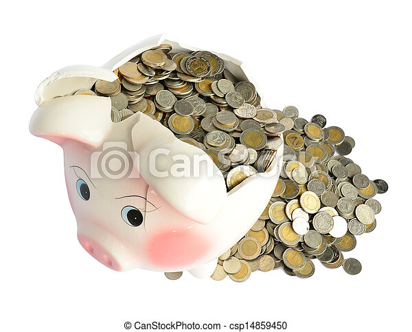 Pink piggy bank broken with money - csp14859450