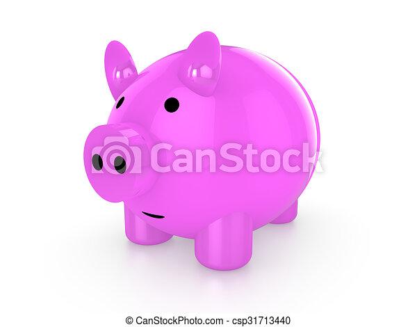 Pink piggy bank - csp31713440