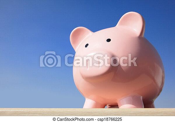 pink piggy bank - csp18766225