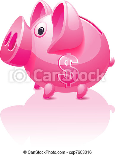 Pink piggy bank with dollar sign - csp7603016