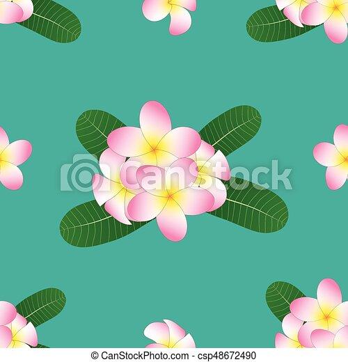 Pink Plumeria, Frangipani on Green Teal Background. Vector Illustration - csp48672490