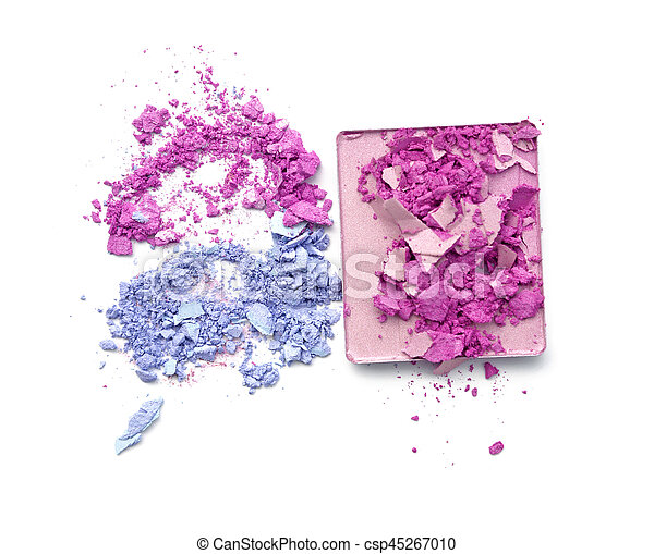 pink purple and blue crushed eyeshadow on white background