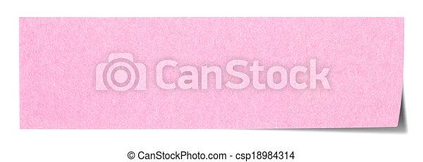 Pink rectangular sticky note - csp18984314