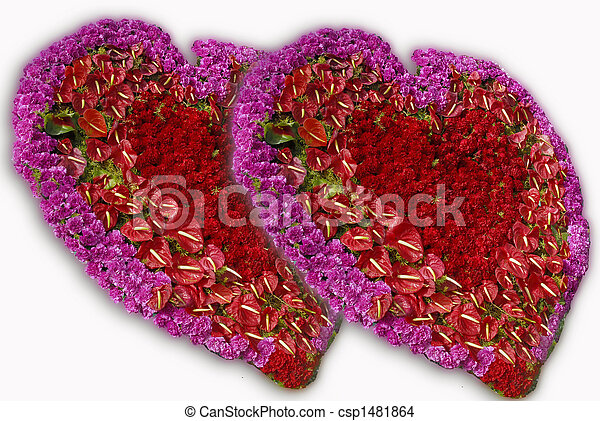 Pink red rose flower hearts heart shaped flower decoration with pink red rose flower hearts csp1481864 mightylinksfo