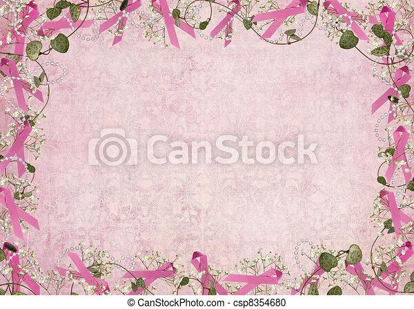 Pink Ribbon Border Breast Cancer Awareness Ribbon Border