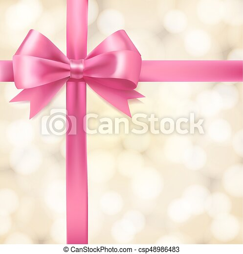 Pink Ribbon Bow On Blurry Background Greeting Vector Design Template