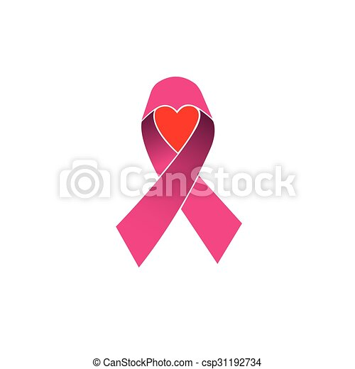 Pink Ribbon Breast Cancer Awareness Vector Icon Isolated On