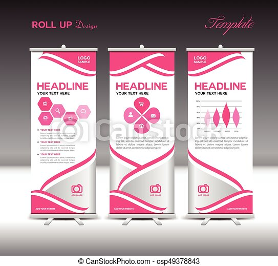Pink Roll Up Banner Template