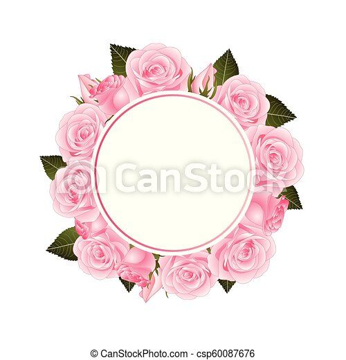 bf1d79a017e Pink rose flower banner wreath. isolated on white background. vector  illustration.