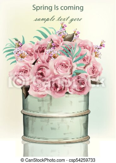 Pink Rose Flowers Bouquet In A Vintage Vase Vector Realistic