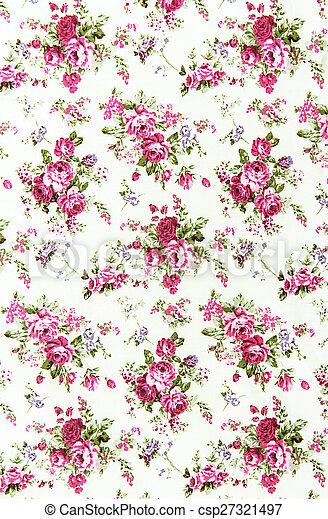 pink rose vintage on fabric background - csp27321497