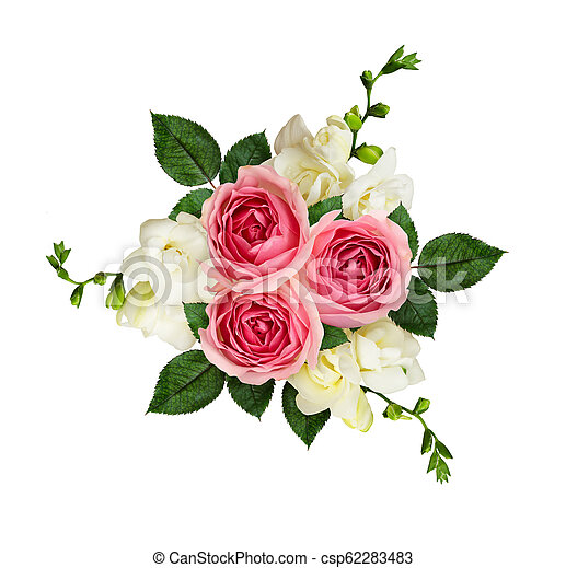 dd5a4ed491 Pink roses and freesia flowers in a bouquet isolated on white. top view.  flat lay.